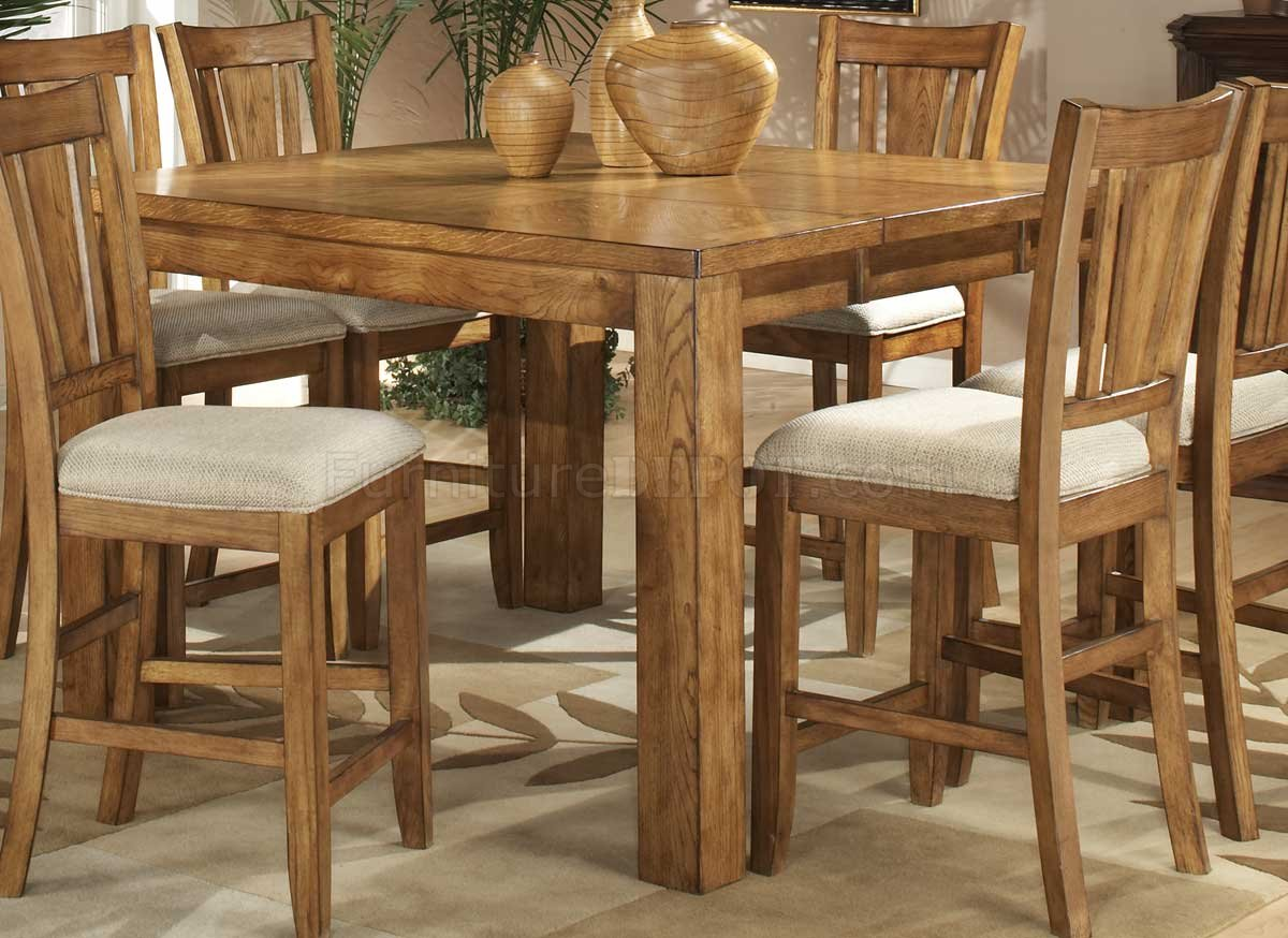 Light Oak Finish Counter Height Casual Dinette Table W/Options