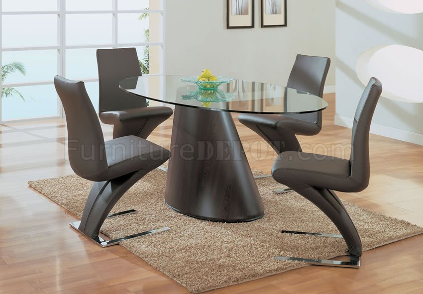 Dark Brown Cone Shape Base Dinette With Oval Glass Top