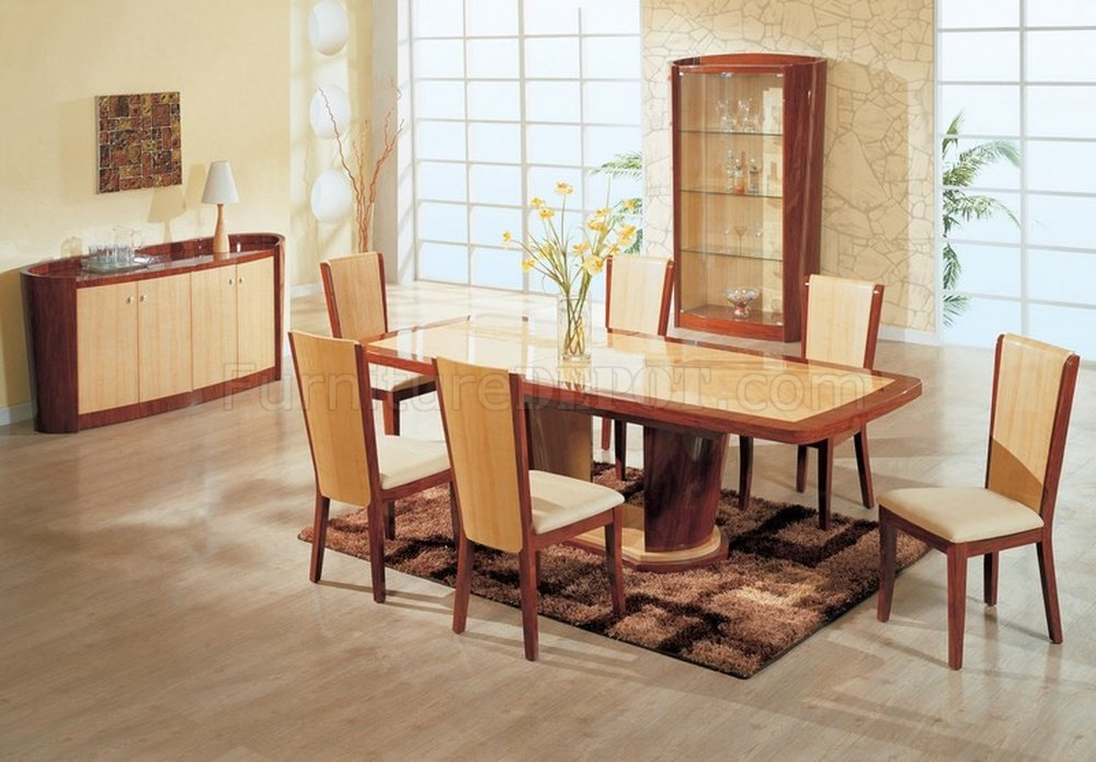Maple And Cherry High Gloss Finish D87 Dining Table W/Options