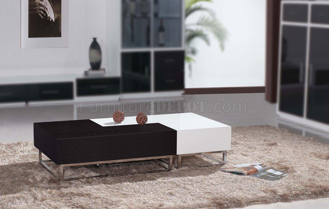 Matte Wenge & High Gloss White Modern 2Pc Coffee Table