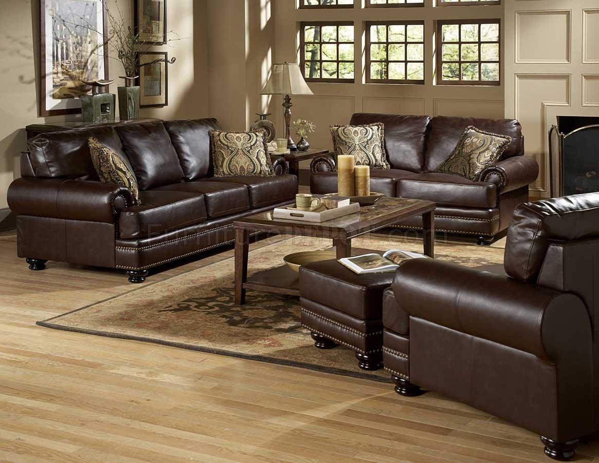 9854 Bentleys Sofa Set In Rich Brown Leather By Homelegance