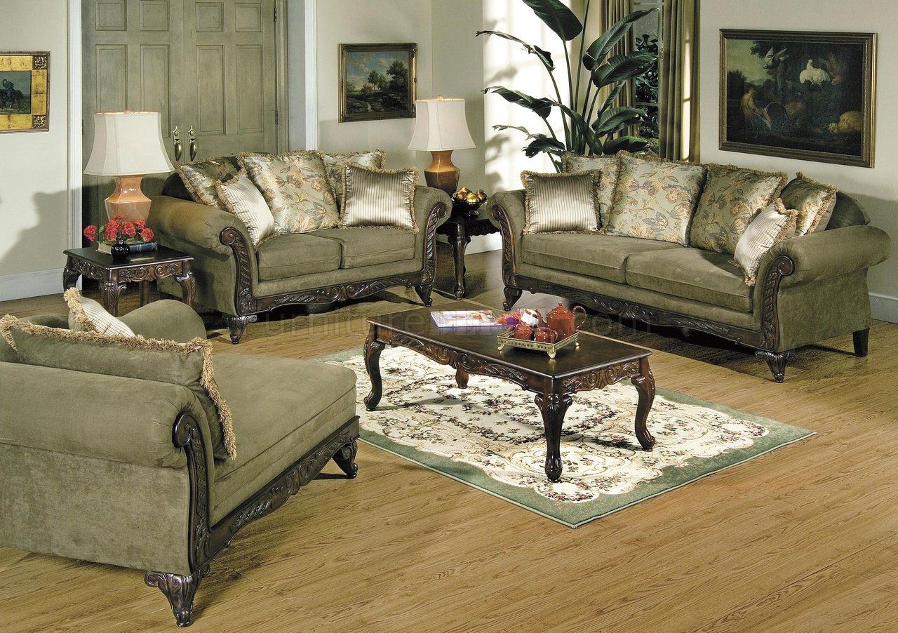 Alpine Microfiber Traditional Living Room Sofa W/Wooden