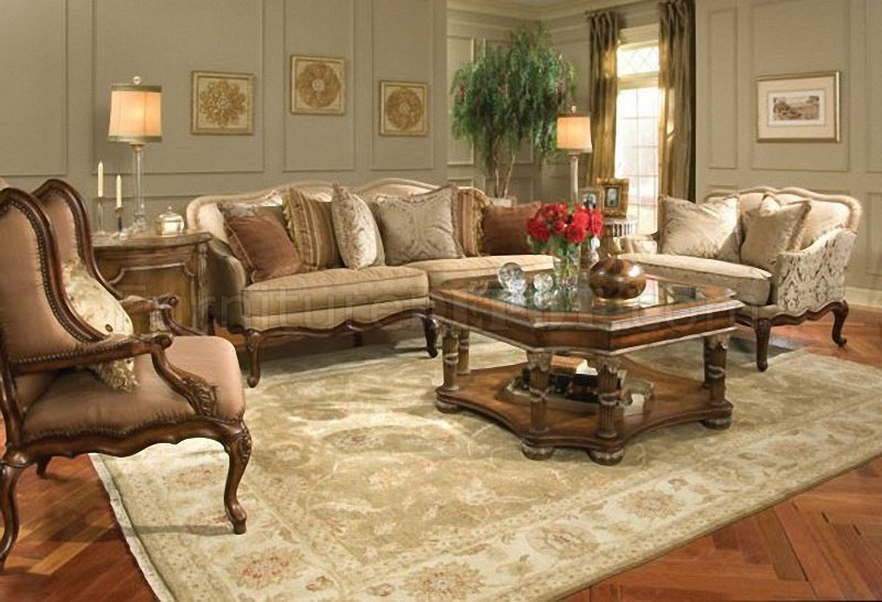 Classic Cherry Wood Finish Living Room Sofa W/Hand-Carved