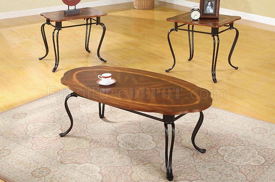 Oak Finish Traditional 3PC Coffee Table Set W/Metal Legs