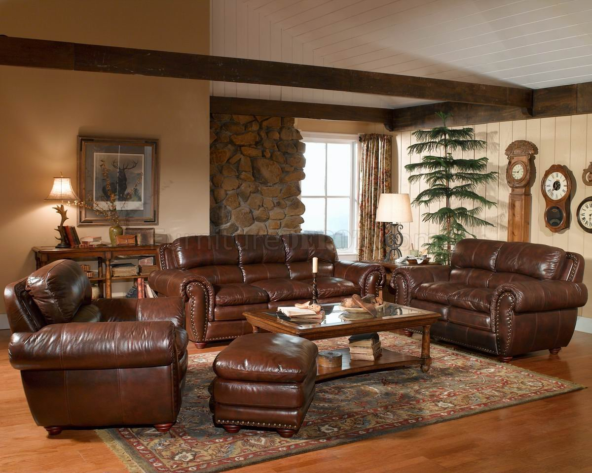 Leather Italia Aspen Brown Sofa & Loveseat Set W/Options