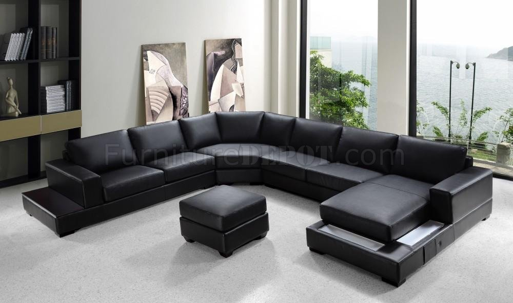 Black Leather Modern U-Shape Sectional Sofa W/Ottoman