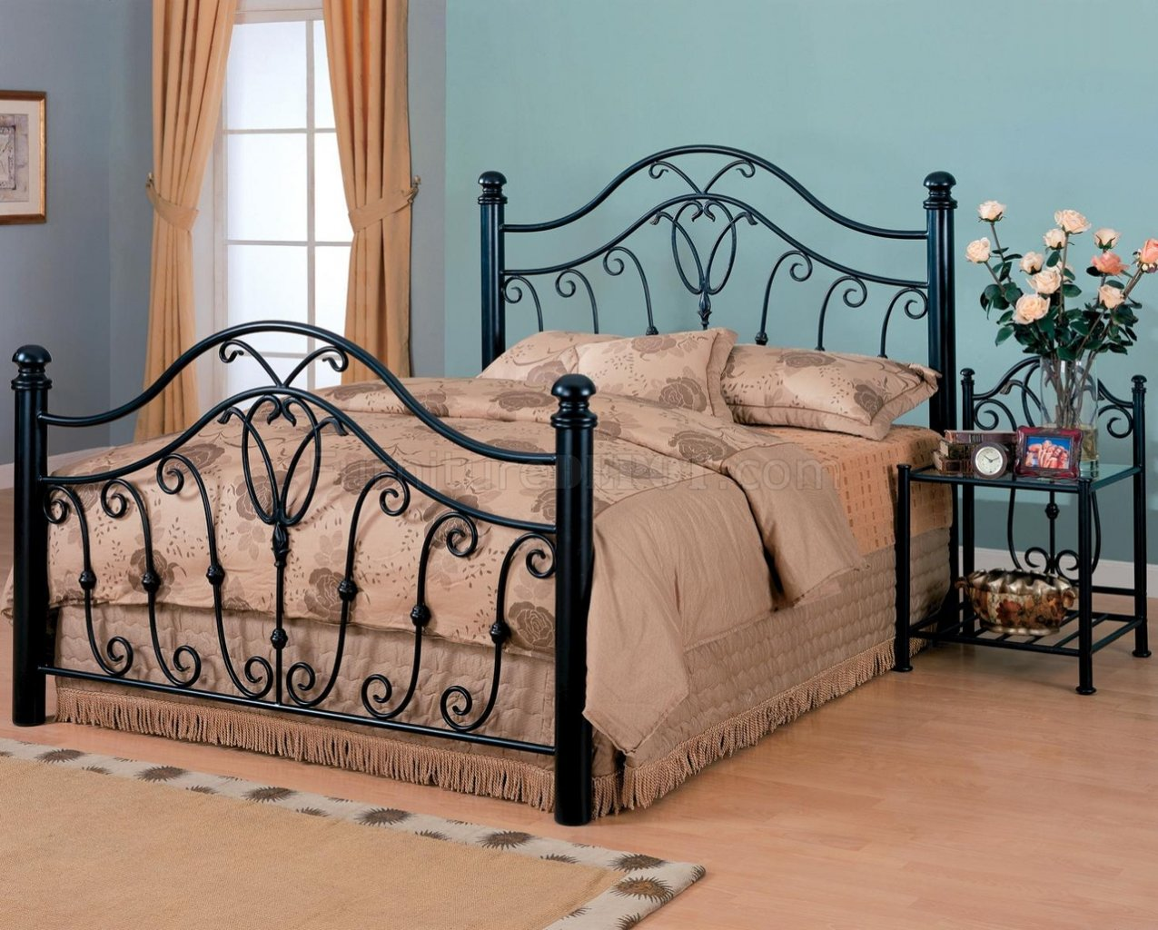 Black Finish Traditional Iron Bed W/Optional Nightstands
