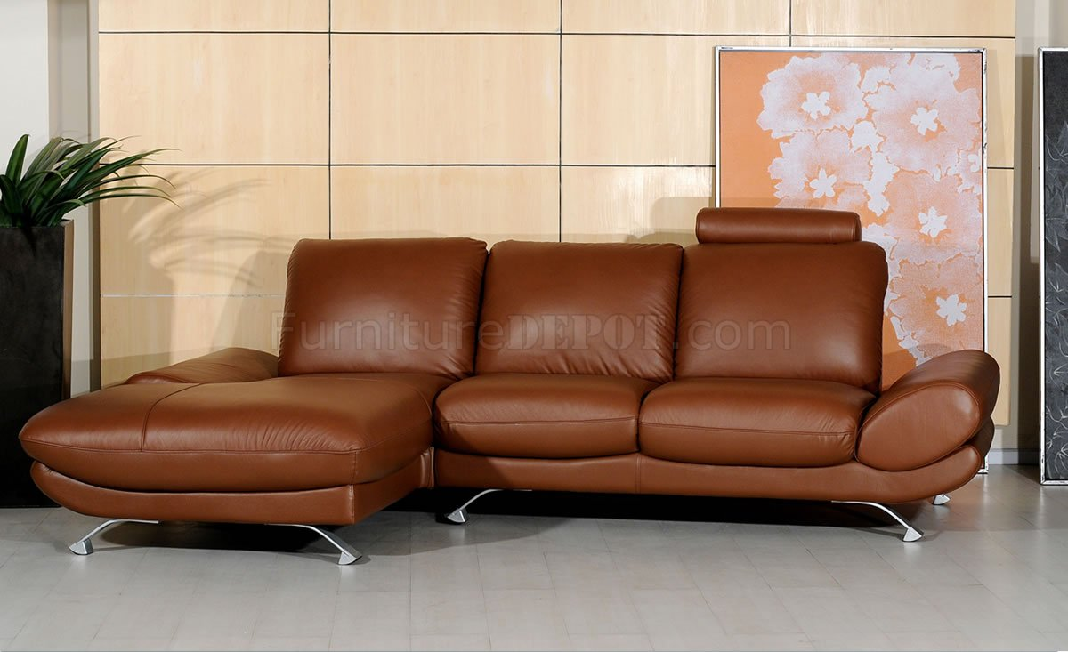 Brown Leather Upholstery Modern Style Sectional Sofa