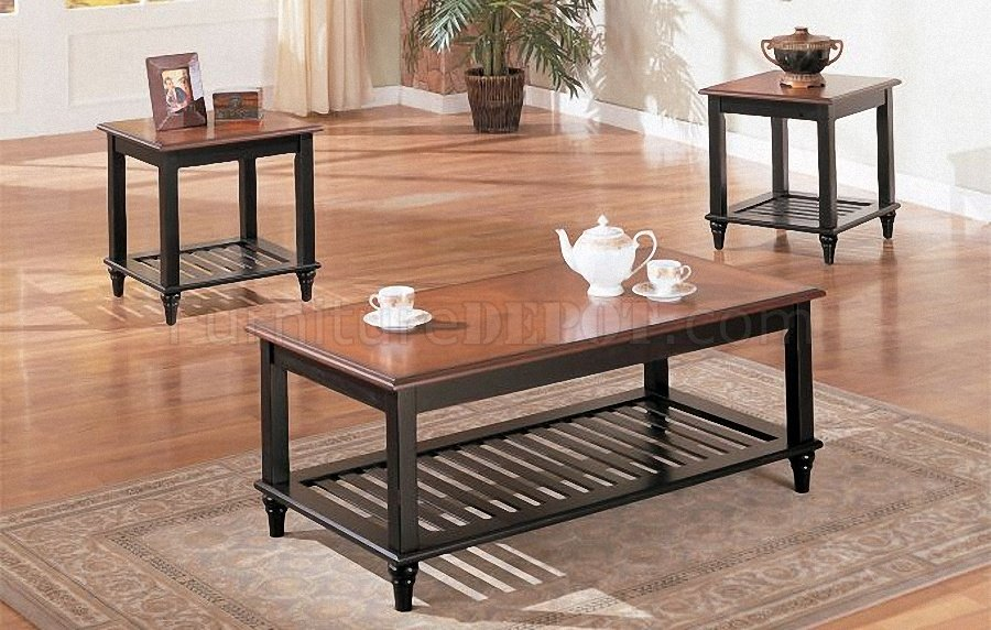 Black & Oak Wood Finish Classic 3PC Coffee Table Set