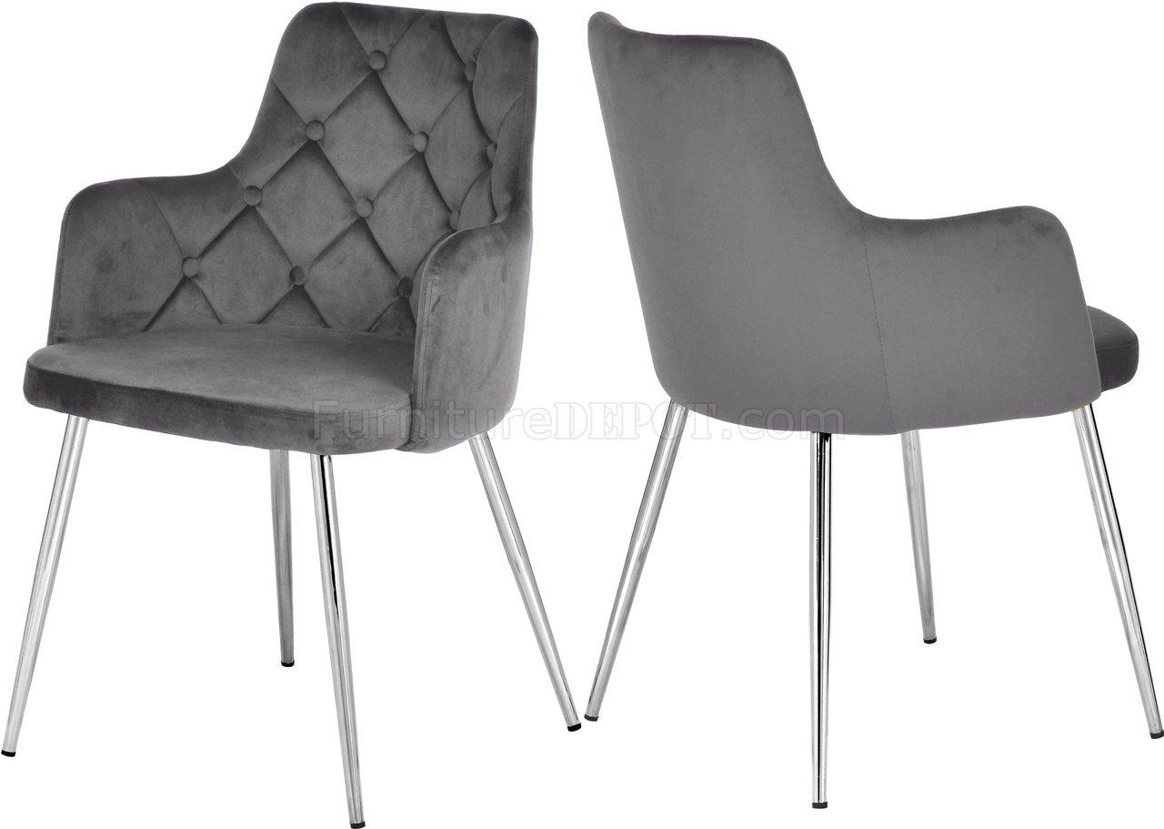 Salvatore Dining Chair 758 Set Of 2 Grey Velvet Fabric