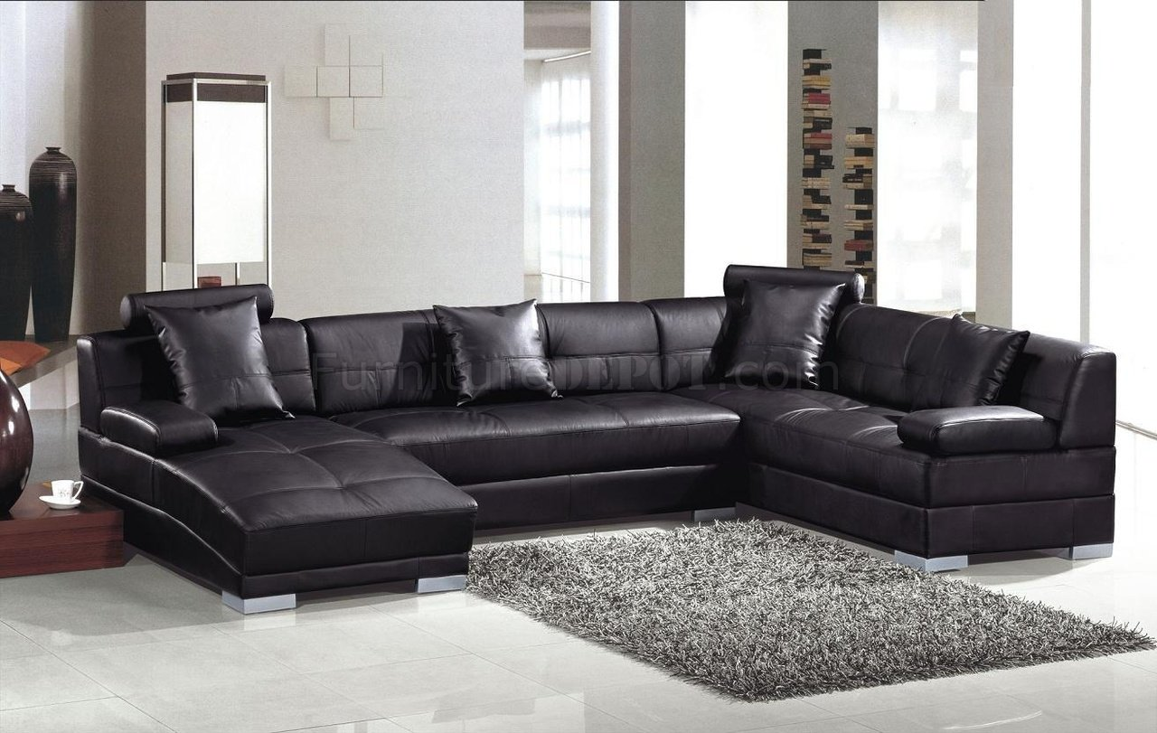 Black Full Leather Modern Sectional Sofa 3334 St.Petersburg