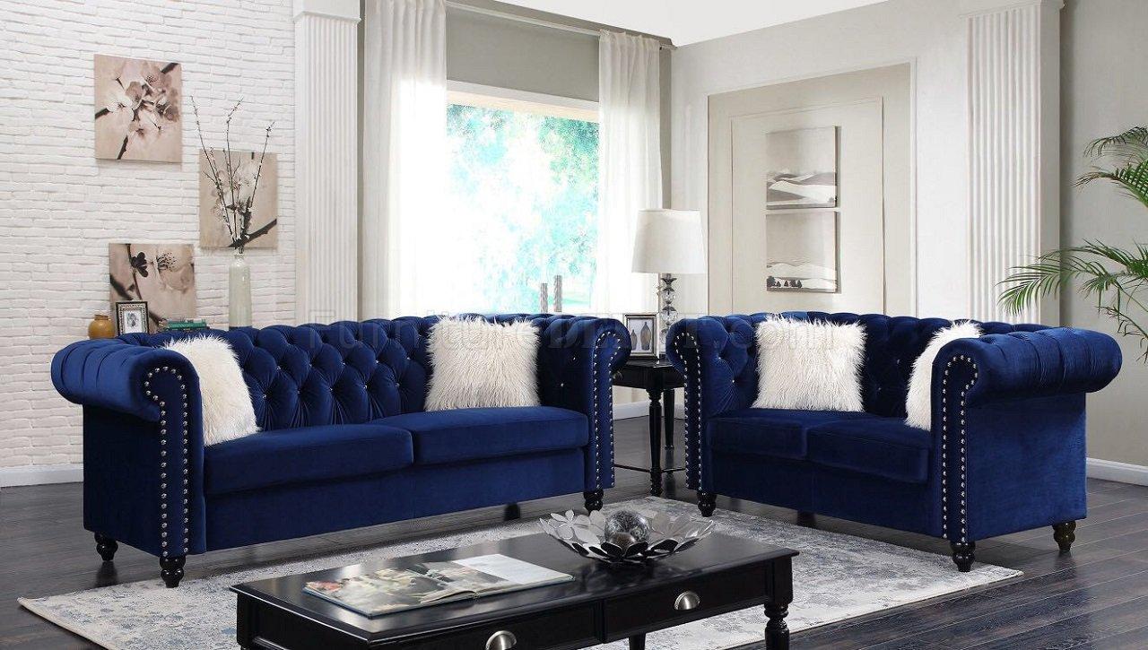 Living Room Royal Blue Sofa Set Novocom Top