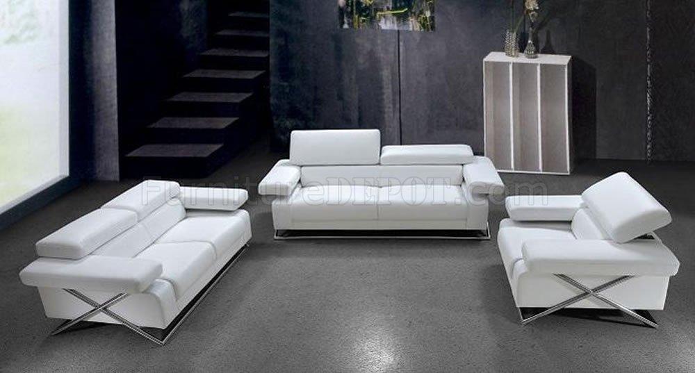 Modern Full Italian Leather 3PC Living Room Set Linx White