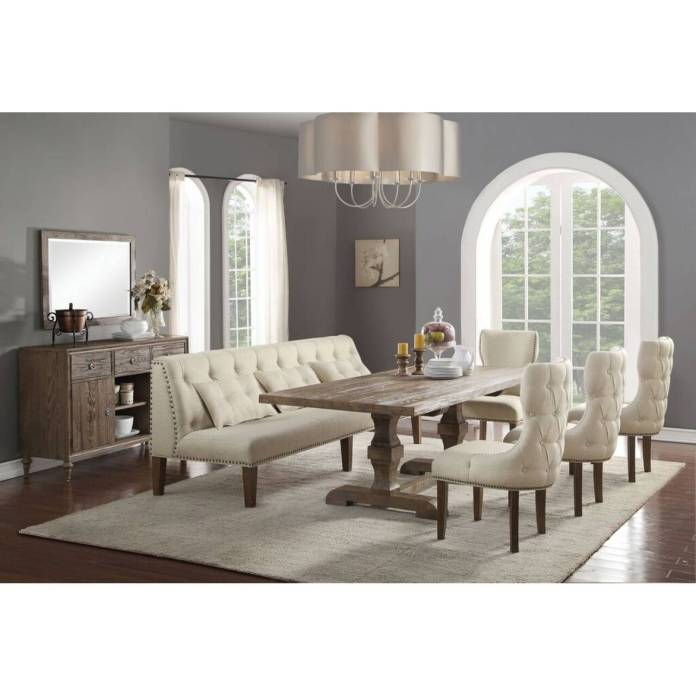66080 66082 4 66083 6pc Sets Inverness Dining Table 4 Side Chairs Banquette Bench