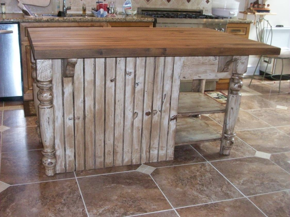 Distressed White Kitchen Island With Butcher Block Furniture From The Barn