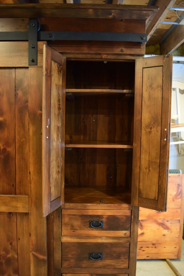 Rustic Low Profile Barn Door Entertainment Cabinet