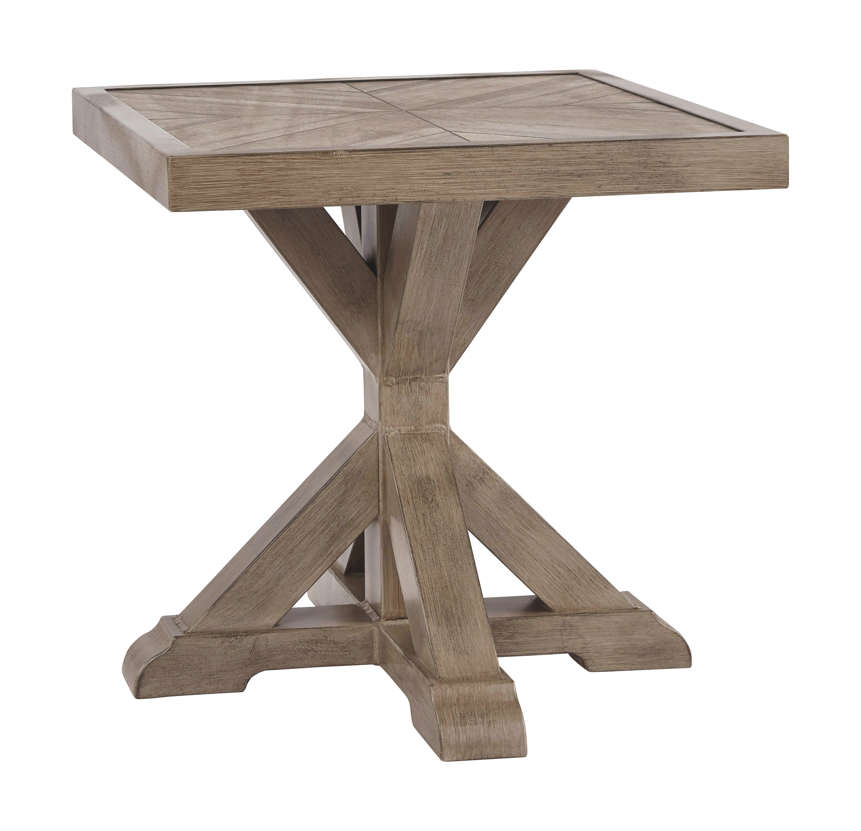 Beachcroft - Beige - Square End Table - Furniture Innovation on Beachcroft Beige Outdoor Living Room Set  id=79269