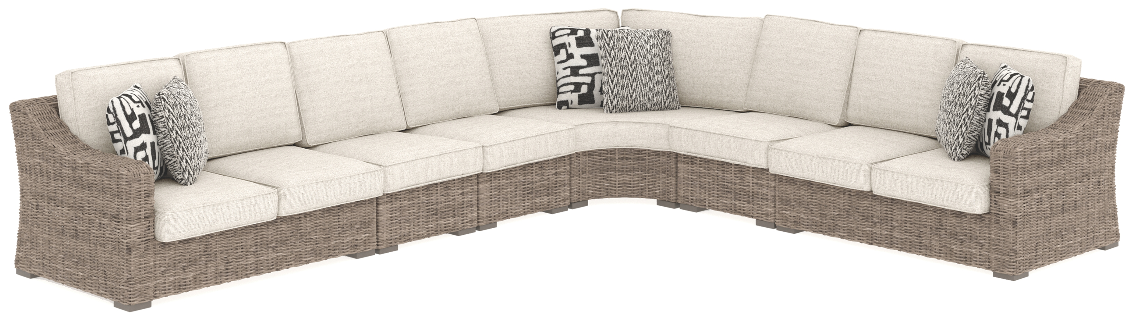 Beachcroft - Beige - 6 Pc. - Sectional Lounge - Furniture ... on Beachcroft Beige Outdoor Living Room Set  id=58743