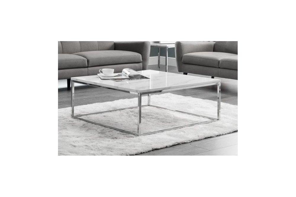 julian bowen julian bowen scala white marble and chrome square coffee table