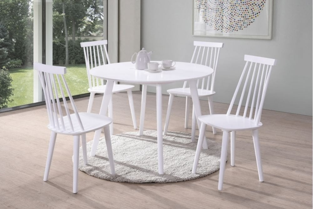 Vida Living Isla White Round Dining Table And 4 Spindle Chairs Furnitureinstore