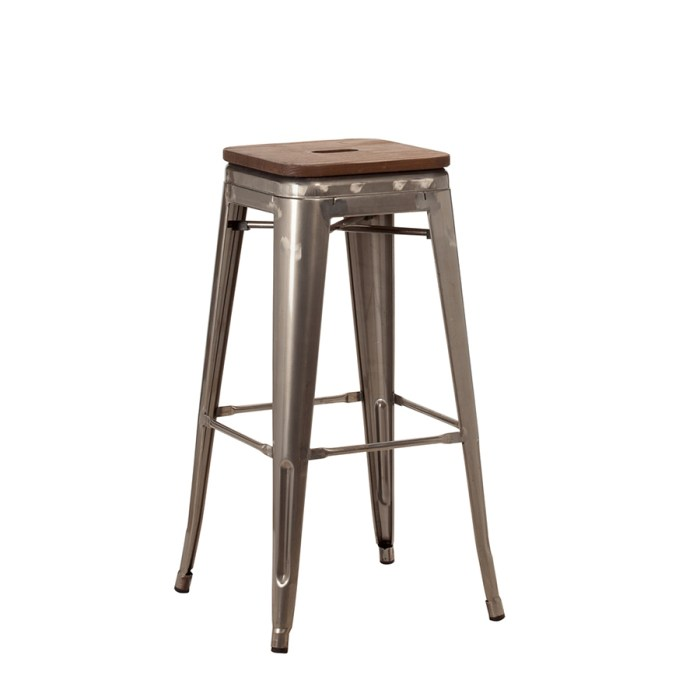 french bistro high stool in gun metal with wood panel