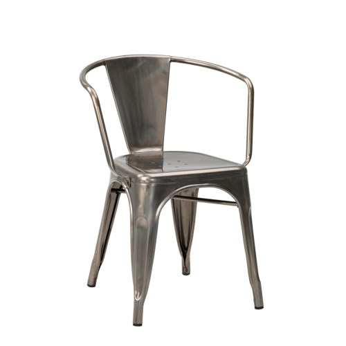 french bistro arm chair in natural gun metal