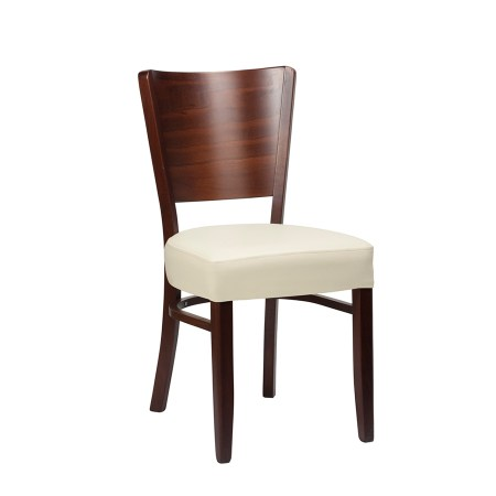 Alto Mezzo side chair in an ivory faux leather upholstery to seat and walnut frame and back