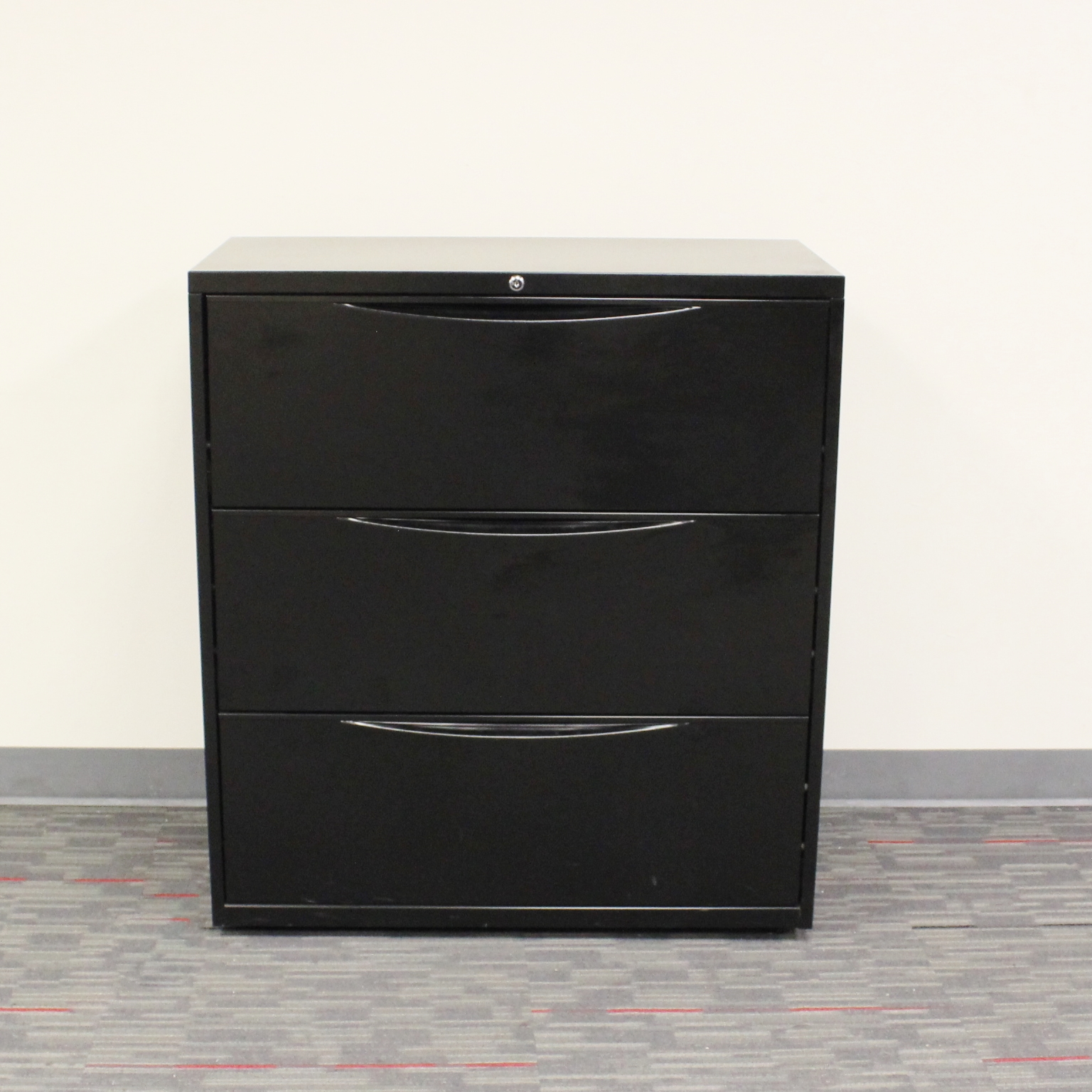 Global 3 Drawer 36 W Black Lateral File Cabinet
