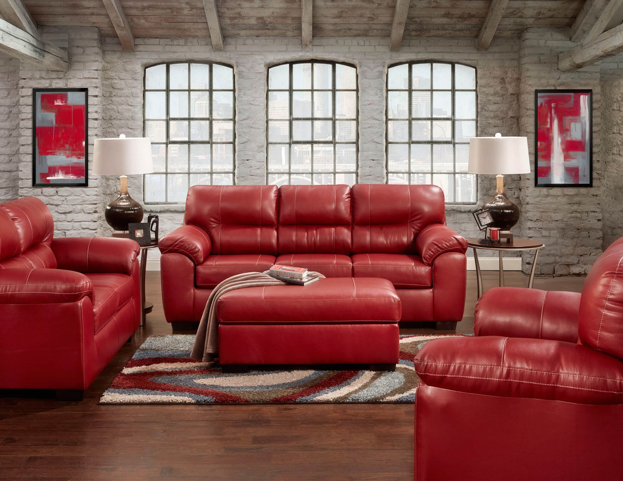 Austin Red Sofa And Loveseat Leather Living Room Sets