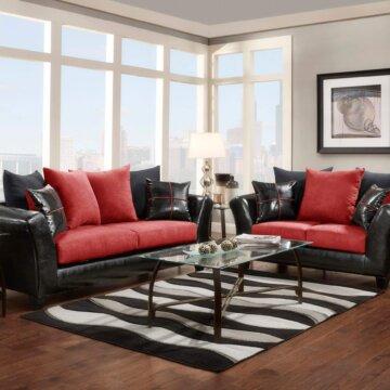 Jitterbug Gray Sofa And Loveseat Fabric Living Room Sets