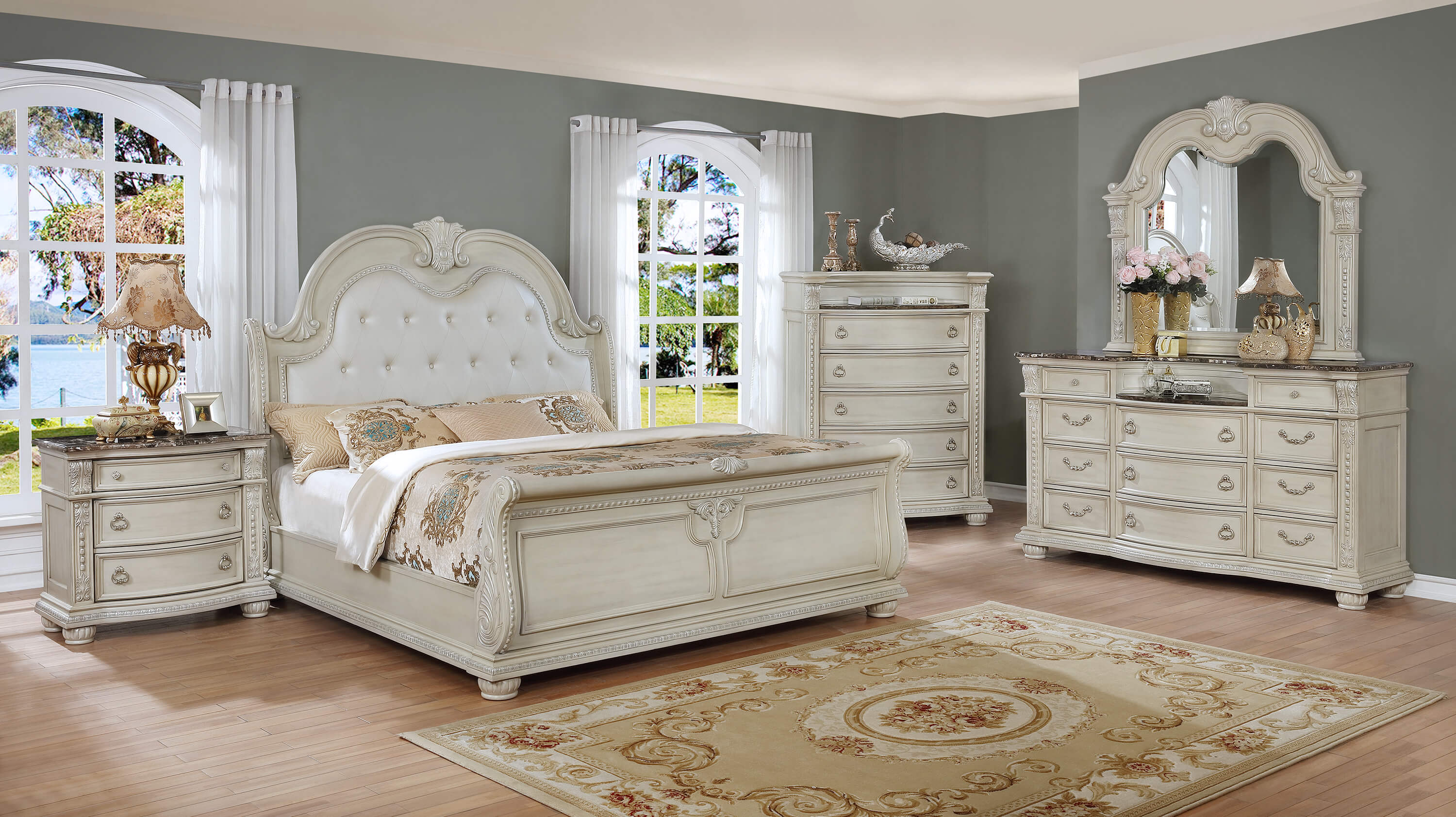 b1630 stanley antique white marble bedroom set by crown mark