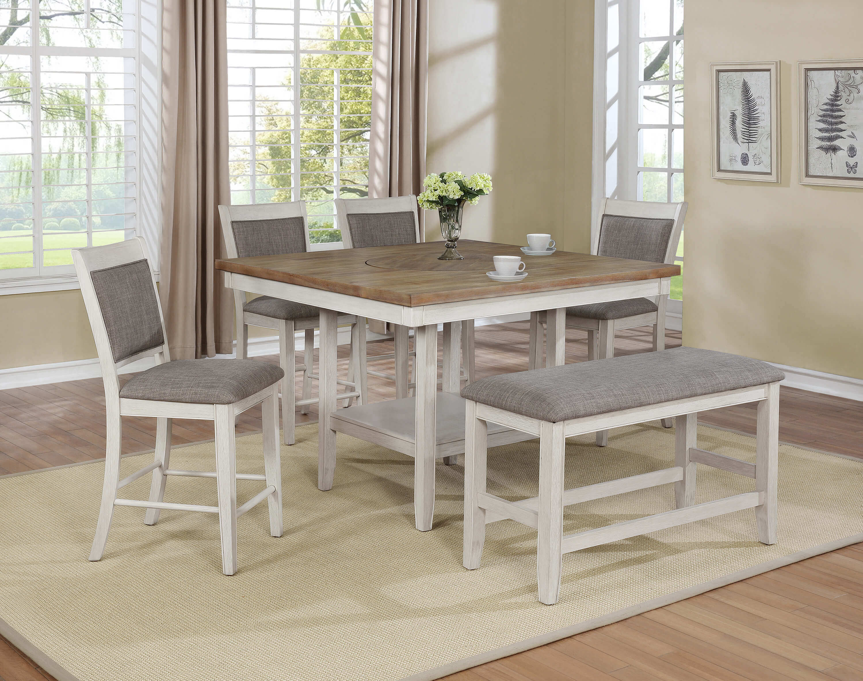 Fulton White Counter Height Set With Lazy Susan Dining Room Furniture