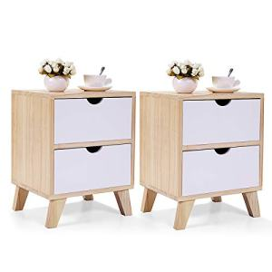 "JAXSUNNY 2 Drawers Nightstand Solid Wood Mid Century Modern End Table Bedside Table for Bedroom Set of 2,14"" L x 12"" W x 18"" H,White and Walnut"