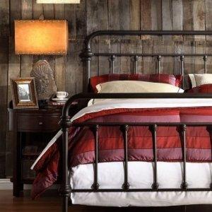 Antique Finish Dark Bronze Queen-Size Metal Bed. This Victorian Brass Bed Style