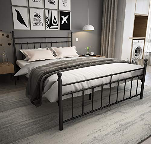 Metal Bed Frame Queen Size with black ball Headboard and Footboard The country style Iron-Art Double Bed The Metal Structure, Matte black Baking Paint.Sturdy Metal Frame Premium Steel Slat Support.