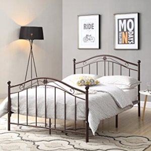 Hodedah Complete Metal Bed with Headboard, High Footboard, Slats and Rails