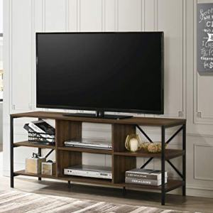Furnitela TV Stand for 55 inch tv, Home Entertainment Center, Console with Storage, Wood Walnut Brown Color