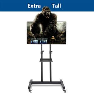 """Rfiver Mobile TV Stand Rolling TV Cart with Tilt Mount and Locking Wheels for Most 37""""-80"""" LCD LED Flat Screen Curved TVs, Black Display Trolley Floor Stand Height Adjustable Max Load 110 Lbs"""