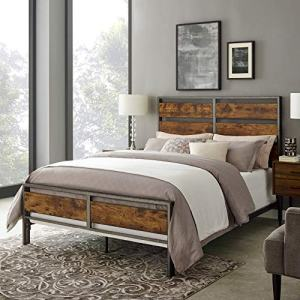 Walker Edison Furniture Company Plank Metal Queen Size Bed Frame Bedroom