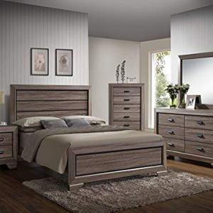 GTU Furniture Lyndon 4Pc Weathered Grey Panel Bedroom Set (Queen Bed, Nightstand,Dresser andMirror)