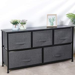 SUPER DEAL Extra Wide Dresser Storage Tower with 5 Foldable Easy Pull Fabric Bins