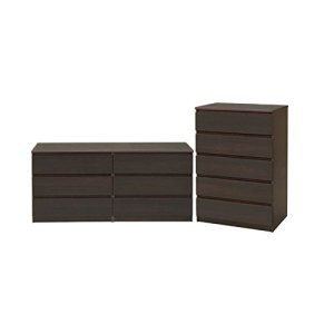 Home Square 2 Piece Bedroom Set with 6 Drawer Double Dresser and 5 Drawer Chest in Coffee