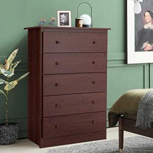 Giantex 5 Drawer Chest, Storage Dresser, Wooden Clothes Organizer Bedroom