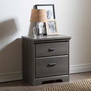 South Shore Versa 2-Drawer Nightstand-Gray Maple