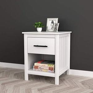 "White Finish Nightstand Side End Table with Drawer and Open Shelf 22"" H"