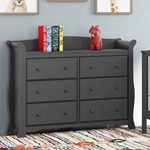 Storkcraft Avalon 6 Drawer Universal Dresser, Gray, Kids Bedroom Dresser