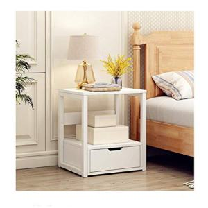 C-Easy 2-Tier Modern Nightstand with Drawer, Industrial Small End Table Organizer, Bedroom Bedside Table Cabinet, Sofa Side Table,Solid Wood Night Stand, Living Room Coffee Table, White