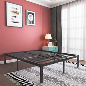 16 Inch Queen Platform Bed Frame, Heavy Duty Strong Steel Bed Base- High Weight Capacity Sturdy Solid Metal Foundation- Easy Assemble/Noise Free/Non-Slip/Squeaky Free/No Box Spring Needed/Queen