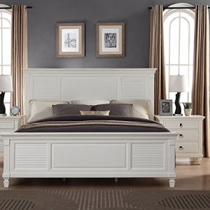 Roundhill Furniture Regitina Bed, King, White
