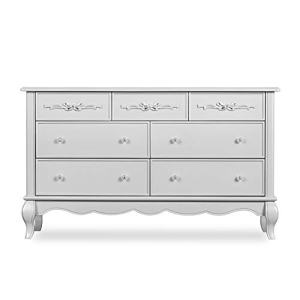Evolur Aurora 7 Drawer Double Dresser in Akoya Grey Pearl/ Silver Mist